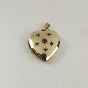 9ct Yellow Gold & Ruby Heart Shaped Locket Pendant