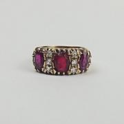 9ct Yellow Gold Ruby, Quartz & Glass Ring UK Size O US 7