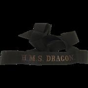 HMS Dragon Royal Navy Pre-War Dot Full Length Cap Tally