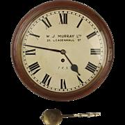 12 Inch Mahogany Wall Wire Fusee Clock By W.J. Murray Ltd c.1880