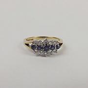 9ct Yellow Gold Diamond & Sapphire Cluster Ring UK Size L+ US 6