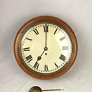 12 Inch Rare English Victorian Oak Cased Dial Wall Clock 8-Day c1860