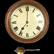 12 Inch Rare English Victorian Oak Cased Dial Wall Clock 8-Day c1860