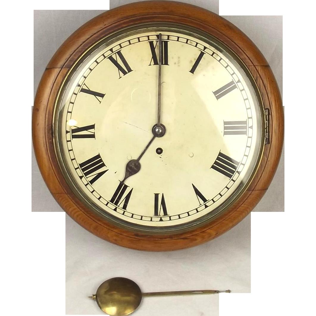 12 Inch Rare English Victorian Oak Cased Dial Wall Clock 8