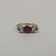 9ct Yellow Gold Ruby & Quartz Ring UK Size M US 6