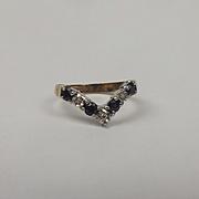 9ct Yellow Gold Sapphire & Diamond Wishbone Ring UK Size K+ US 5 ½