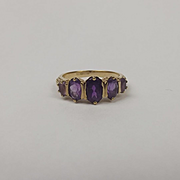 9ct Yellow Gold Five Stone Amethyst Ring UK Size O US 7
