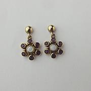 Pair Of 9ct Yellow Gold Amethyst & Opal Earrings
