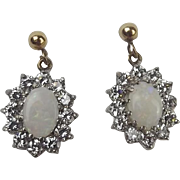 Pair Of 9ct Yellow Gold Cubic Zirconia & Opal Earrings
