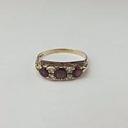 9ct Yellow Gold Garnet & Quartz Ring UK Size R+ US 8 ¾