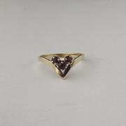 9ct Yellow Gold Garnet Wishbone Ring UK Size L+ US 5 ¾