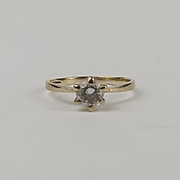 9ct Yellow Gold Cubic Zirconia Solitaire Ring UK Size L US 5 ½