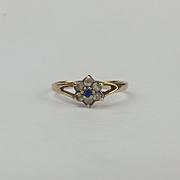 9ct Yellow Gold Tanzanite & Quartz Flower Head Ring UK Size M+ US 6 ¼