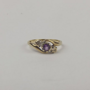 9ct Yellow Gold Amethyst & Diamond Ring UK Size O US 7