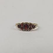 9ct Yellow Gold Garnet Ring UK Size P+ US 7 ¾