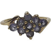 9ct Yellow Gold Iolite Cluster Ring UK Size P+ US 7 ¾