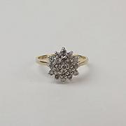 9ct Yellow Gold Diamond Cluster Ring UK Size J+ US 5