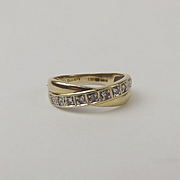 9ct Yellow Gold 0.12CTW Diamond Crossover Band Ring UK Size L+ US 6