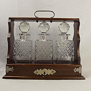 c1930 Three Piece Tantalus Set With Cut Glass Decanters
