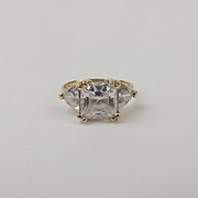 10ct Yellow Gold Cubic Zirconia Ring UK Size N+ US 6 ¾