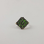 9ct Yellow Gold Emerald Cluster Ring UK Size N US 6 ½