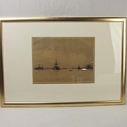 Charles Henry Baskett Etching Of HMS Victory Portsmouth c1900