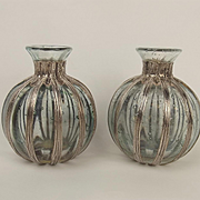 Pair Of Silver Decorated Glass Perfume Bottles c1986