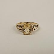 9ct Yellow Gold Citrine Ring UK Size N+ US 6 ¾