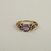 9ct Yellow Gold Amethyst and Tourmaline Ring UK Size N US 6 ½