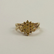 9ct Yellow Gold Yellow Diamond Flower Head Cluster Ring UK Size J+ US 5
