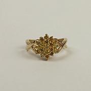 9ct Yellow Gold Yellow Diamond Flower Head Cluster Ring UK Size J+ US 5