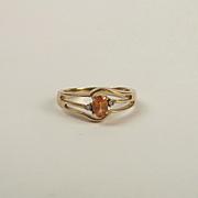 9ct Gold Sapphire & Diamond Ring UK Size N+ US 6 ¾