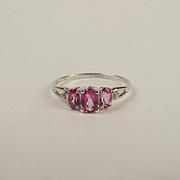 9ct White Gold Topaz & Diamond Trilogy Ring UK Size T US 9 ½
