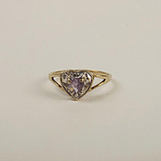 9ct Yellow Gold Amethyst & Diamond Heart Shaped Ring UK Size N+ US 6 ¾