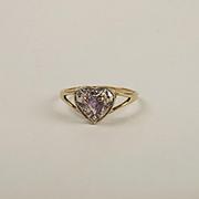9ct Yellow Gold Amethyst & Diamond Heart Shaped Ring UK Size N+ US 6 ¾
