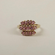 9ct Yellow Gold Pink Garnet Cluster Ring UK Size N US 6 ½