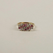 9ct Yellow Gold Pink Topaz & Cubic Zirconia Cluster Ring UK Size K US 5 ¼