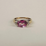 9ct Yellow Gold Pink Topaz & Diamond Ring UK Size P+ US 7 ¾