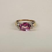 9ct Yellow Gold Pink Topaz & Diamond Ring UK Size P+ US 7 ¾