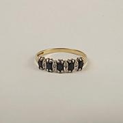 9ct Yellow Gold Topaz & Diamond Ring UK Size O+ US 7 ¼