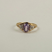9ct Yellow Gold Amethyst & Cubic Zirconia Ring UK Size R US 8 ½