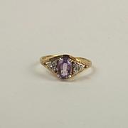 9ct Yellow Gold Amethyst & Cubic Zirconia Ring UK Size R US 8 ½