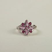 9ct White Gold Topaz & Diamond Flower Ring UK Size O+ US 7 ¼