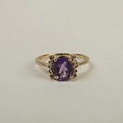 9ct Yellow Gold Amethyst & Diamond Ring UK Size N+ US 6 ¾