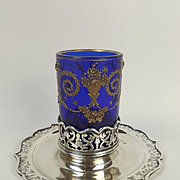 Early Edwardian Silver & Glass Candle Holder c1901