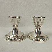Pair Of Squat Silver Candlesticks