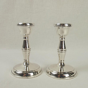 Pair Of Short Birmingham Silver Candlesticks c1968