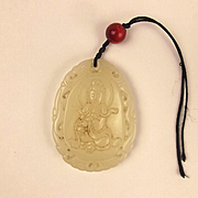 Chinese Ching White Nephrite Jade Goddess Of A Mercy Pendant
