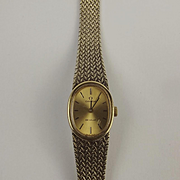 Ladies Gold Plated Omega De Ville Wristwatch With Silver Gilt Bracelet