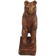 c1890 German Black Forest Oak Bear Figurine